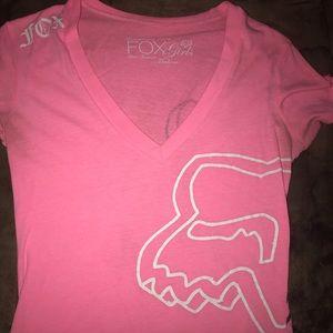 Neon pink fox racing v neck